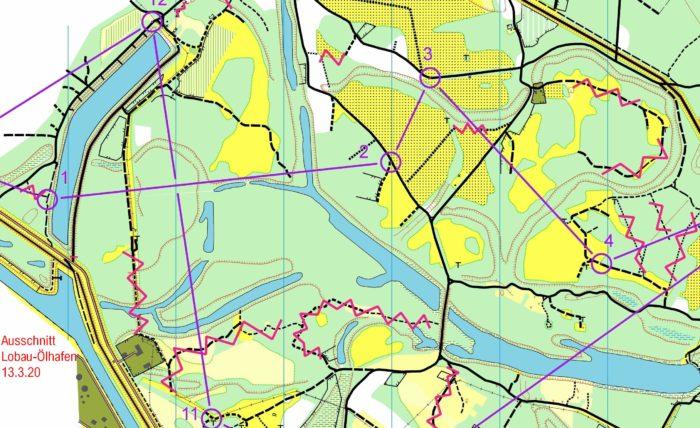 MTBO Training März 2020 - Karte Lobau